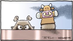 Resized 01.09.2019 bear with bull puppet cartoon
